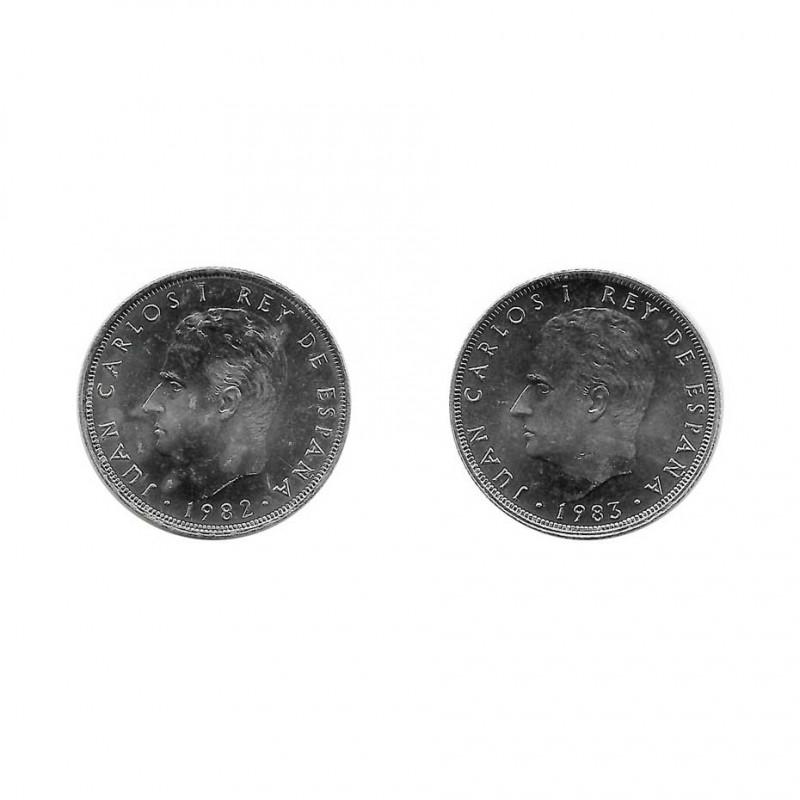 2 Münzen Spain 25 Peseten König Juan Carlos I. Jahr 1982 und 1983   Numismatik Online - Alotcoins
