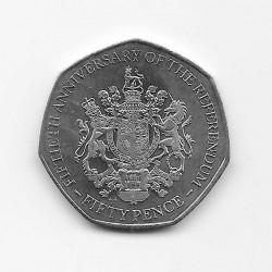 Coin 50 Pence Gibraltar Referendum Year 2017 | Numismatics Online - Alotcoins