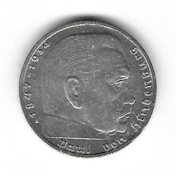 Coin Germany 2 Reichmark Year 1937 Swastika