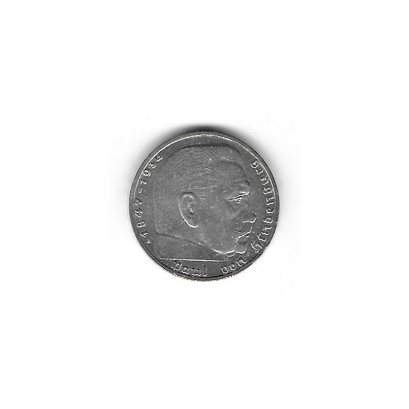 Moneda Alemania 2 Reichsmark Año 1937 Esvástica