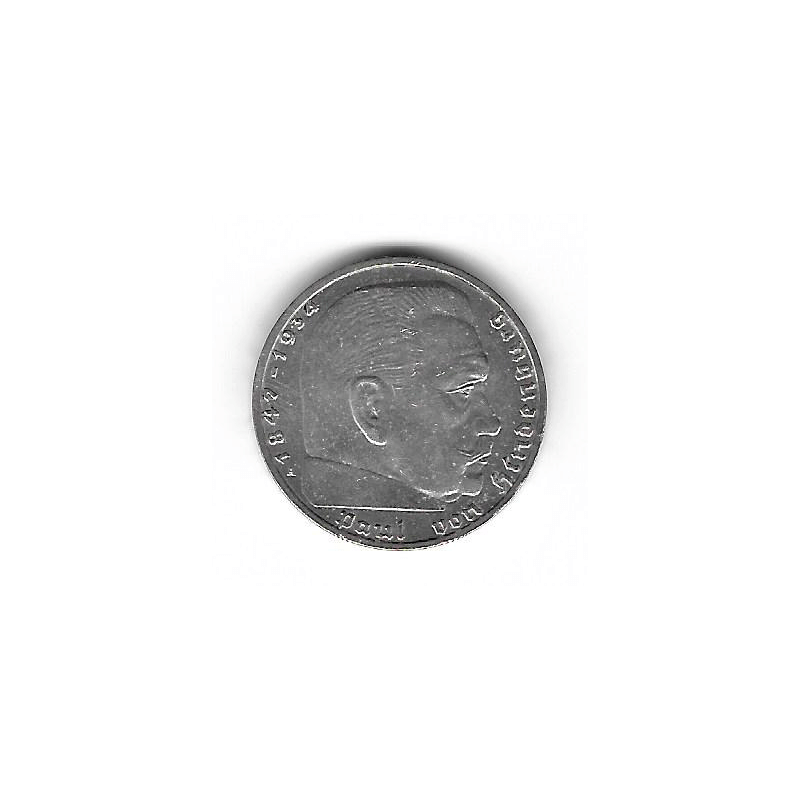 Coin Germany 2 Reichmark Year 1937 Swastika