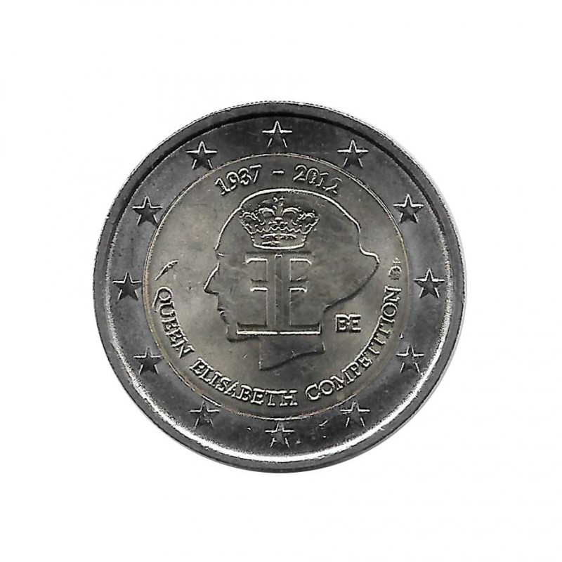 Commemorative Coin 2 Euros Belgium Queen Elizabeth Music Competition Year 2012 | Numismatics Online - Alotcoins