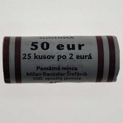 25 Coin Roll 2 Euros Slovakia Milan Rastislav Štefánik Year 2019 3 | Numismatics Online - Alotcoins