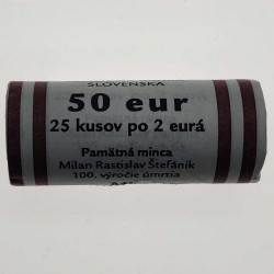 25 Münzrolle Slowakei 2 Euro Milan Rastislav Štefánik Jahr 2019 3 | Numismatik Online - Alotcoins