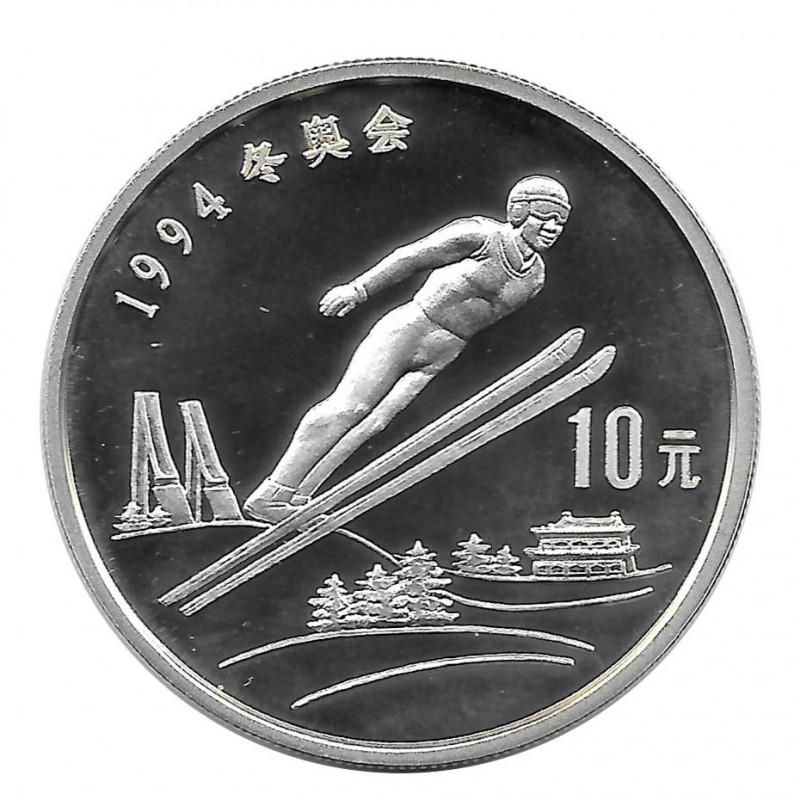 Silver Coin 10 Yuan China Ski Jumping Year 1992 | Numismatic Shop - Alotcoins