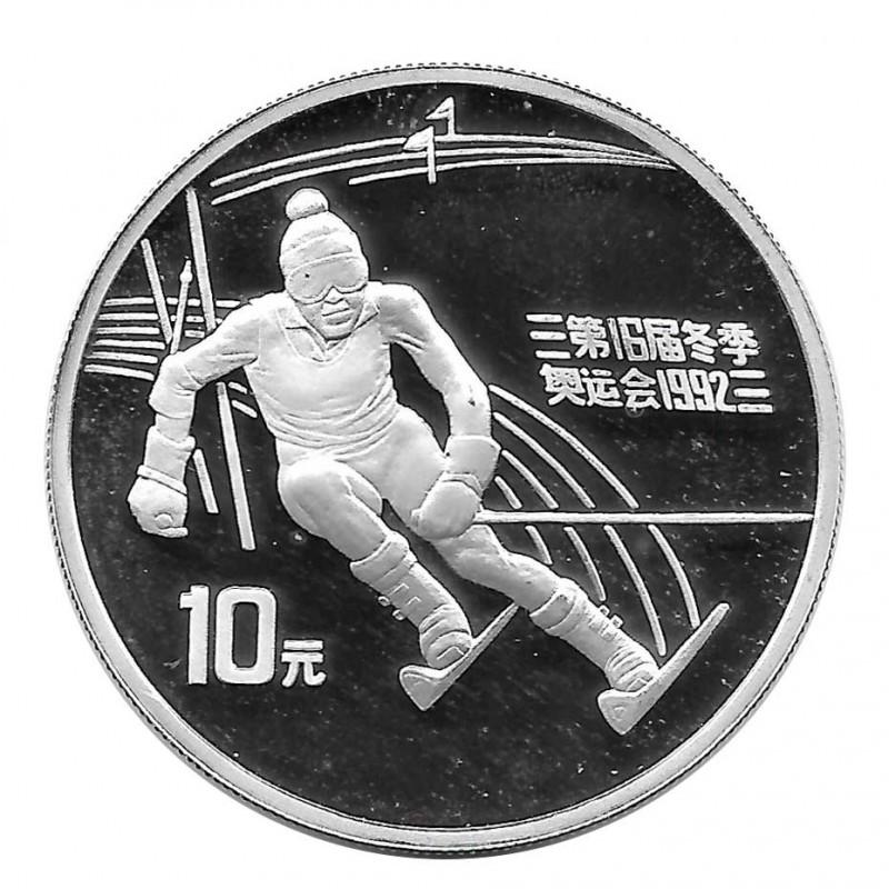 Silver Coin 10 Yuan China Downhill Skiing Year 1991 | Numismatic Shop - Alotcoins