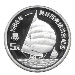 Silver Coin 5 Yuan China Sailboat Racing Year 1988 | Numismatic Shop - Alotcoins