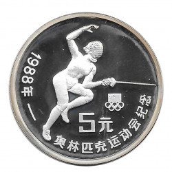 Silver Coin 5 Yuan China Fencing Seoul Year 1988 | Numismatic Shop - Alotcoins