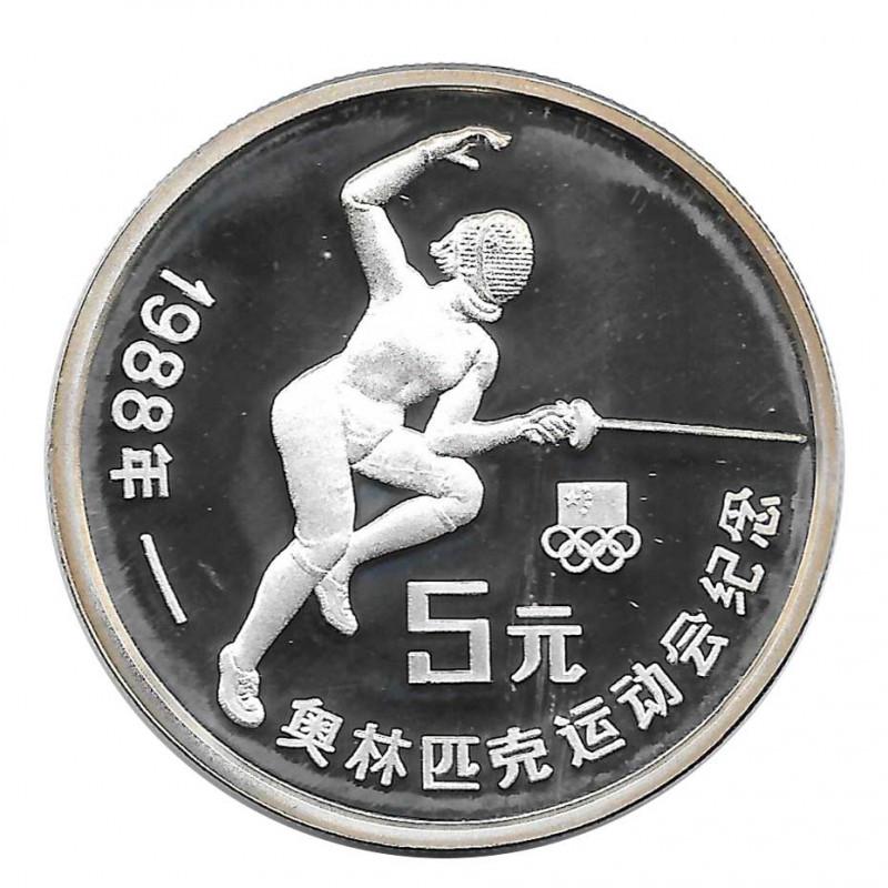Moneda 5 Yuan China Esgrima Juegos Verano Seúl Año 1988 | Tienda Numismática - Alotcoins