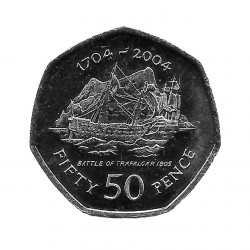 Coin 50 Pence Gibraltar Battle of Trafalgar 2004 - ALOTCOINS