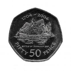 Coin 50 Pence Gibraltar Battle of Trafalgar 2004 - ALOTCOINS