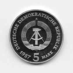 Moneda 5 Marcos Alemania DDR Puerta Brandenburgo Año 1987 | Tienda Numismática - Alotcoins