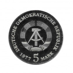 Coin 5 Marks Germany GDR Friedrich Ludwig Jahn Year 1977 | Numismatics Store - Alotcoins