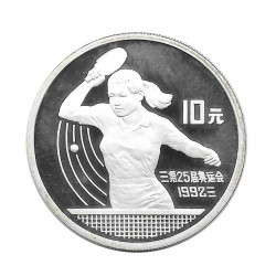 Silver Coin 10 Yuan China Table Tennis Year 1991 | Numismatic Shop - Alotcoins