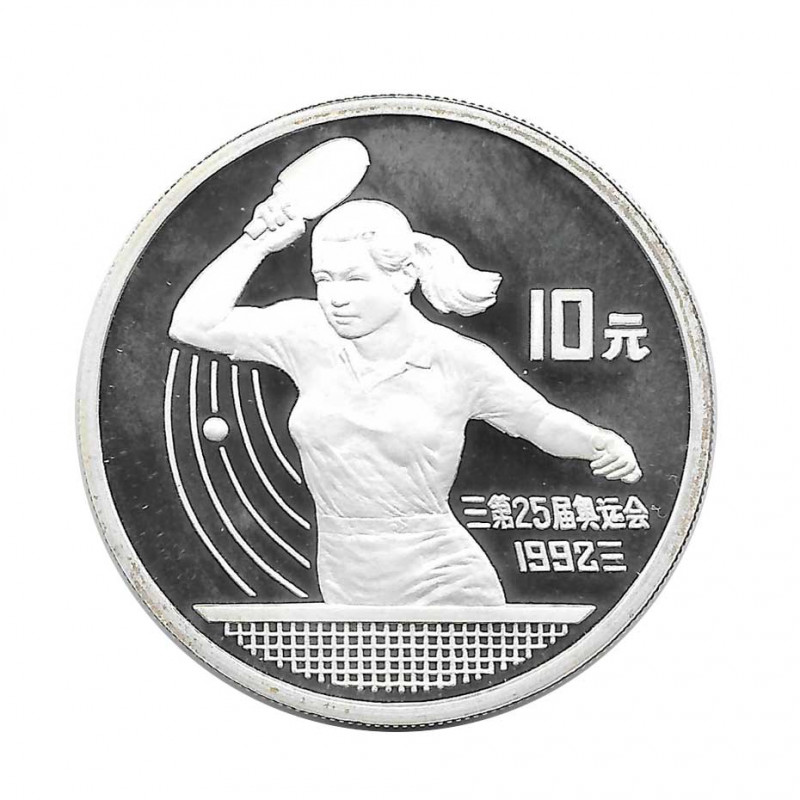 Silver Coin 10 Yuan China Table Tennis Year 1991 | Numismatic Shop - Alotcoins