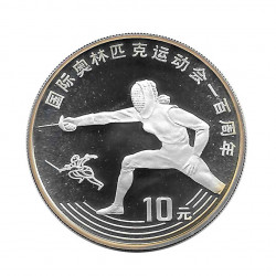 Silver Coin 10 Yuan China Fencing Year 1993 | Numismatics Shop - Alotcoins