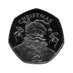 Münze Gibraltar Jahr 2017 Weihnachten 50 Pfennige Büste Santa Unzirkuliert