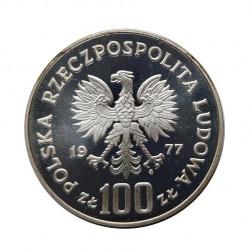 Silver Coin 100 Zloty Poland Władyslaw Reymont Year 1977 | Numismatics Store - Alotcoins