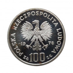 Moneda 100 Zlotys Polonia Janusz Korczak Año 1978 Proof | Tienda Numismática - Alotcoins