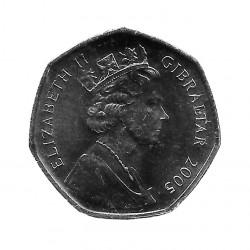 Coin 50 Pence Gibraltar Capture of Gibraltar 2005 - ALOTCOINS