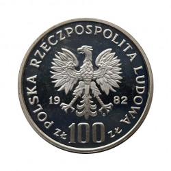 Silbermünze 100 Złote Polen Weißer Storch Jahr 1982 Polierte Platte PP | Numismatik Shop - Alotcoins