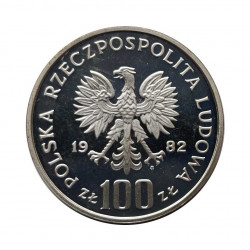 Silver Coin 100 Zloty Poland White Stork Year 1982 Proof | Numismatics Store - Alotcoins