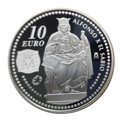 Silver Coin 10 Euros Spain Alfonso X El Sabio Year 2008 | Numismatics Shop - Alotcoins