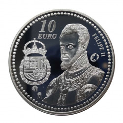 Silver Coin 10 Euros Spain King Felipe II Year 2009 | Numismatics Shop - Alotcoins