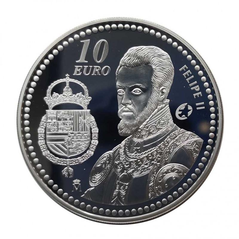 Silver Coin 10 Euros Spain King Felipe II Year 2009 | Numismatics Shop - Alotcoins