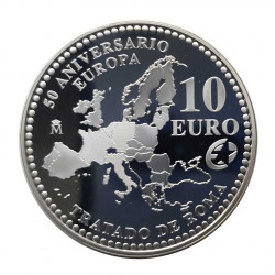 Silver Coin 10 Euros Spain Treaty Rome Year 2007 | Numismatics Shop - Alotcoins