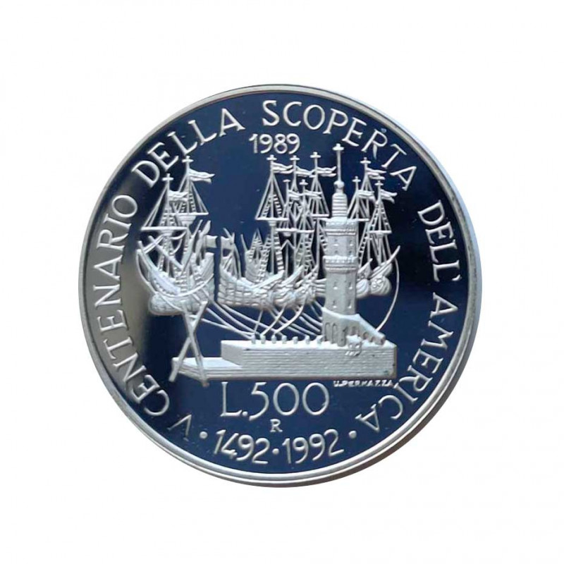 Silver Coin 500 Lire Italy Discovery America Colombo Year 1989 | Numismatics Shop - Alotcoins