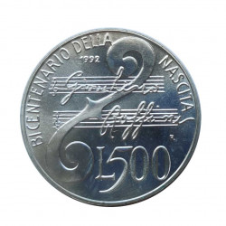 Silver Coin 500 Lire Italy Gioacchino Rossini Year 1992 | Numismatics Shop - Alotcoins