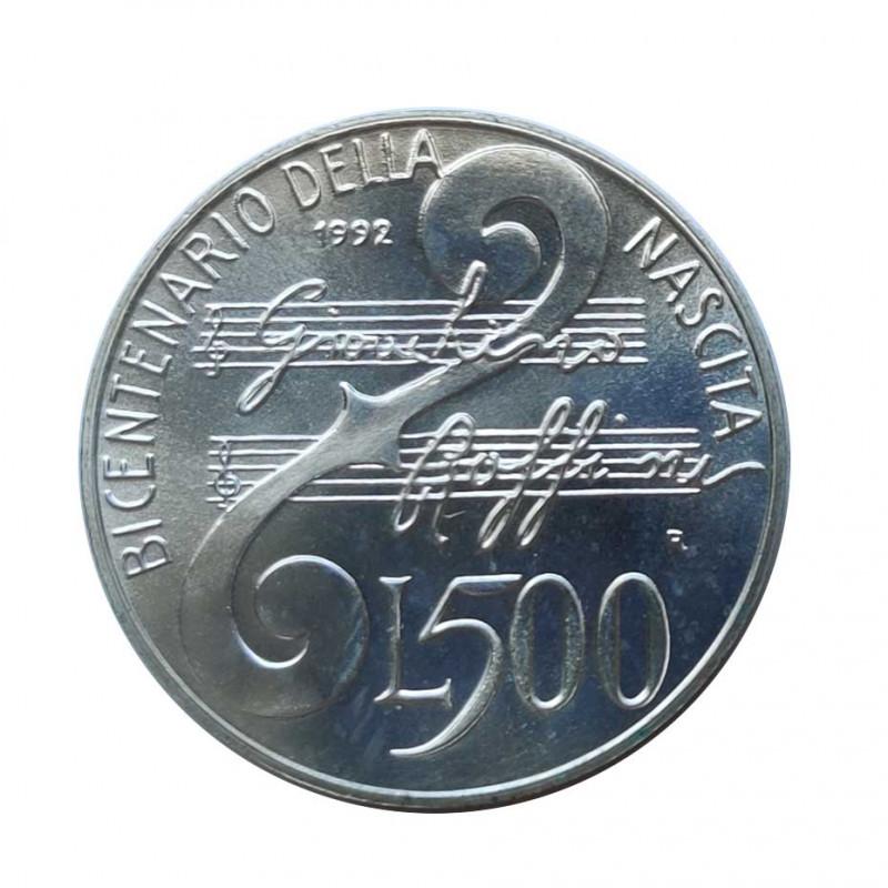Silver Coin 500 Lire Italy Gioacchino Rossini Year 1992 | Numismatics Shop - Alotcoins