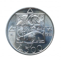 Silver Coin 500 Lire Italy Flora & Fauna Year 1992 Uncirculated UNC | Numismatics Store - Alotcoins