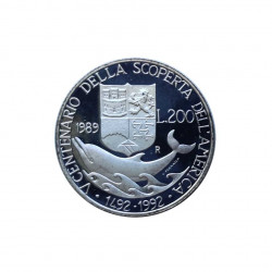 Silver Coin 200 Lire Italy Discovery America Colombo Year 1989 | Numismatics Shop - Alotcoins