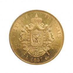 Goldmünze von 50 Franken Frankreich Napoleon III Bonaparte 16,12 g 0,5 oz Jahr 1857 A | Numismatik Store - Alotcoins