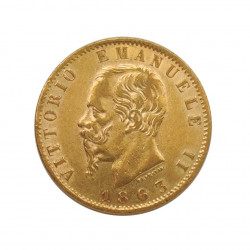 Gold Coin of 20 Lire Italy Victor Emmanuel II 6.45 grs Year 1863 | Collectible Coins - Alotcoins