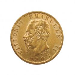 Moneda de oro de 20 Liras Italia Víctor Manuel II 6,45 grs Año 1863 | Monedas de colección - Alotcoins