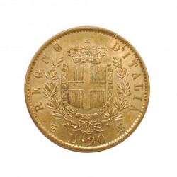 Gold Coin of 20 Lire Italy Victor Emmanuel II 6.45 grs Year 1863 | Numismatics Shop - Alotcoins
