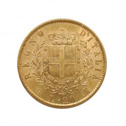 Goldmünze von 20 Lire Italien Viktor Emanuel II 6,45 g Jahr 1863 | Numismatik Store - Alotcoins
