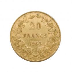 Gold Coin of 20 Francs Belgium Leopold I 6.45 grs Year 1865 | Numismatics Shop - Alotcoins
