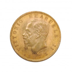 Gold Coin of 20 Lire Italy Victor Emmanuel II 6.45 grs Year 1873 | Collectible Coins - Alotcoins