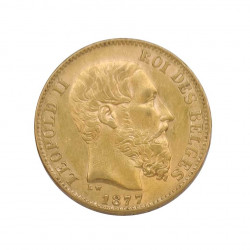 Goldmünze von 20 Franken Belgien Leopold II 6,45 g Jahr 1877 | Sammelmünzen - Alotcoins