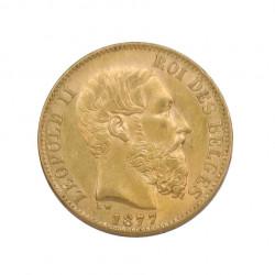 Moneda de oro de 20 Francos Bélgica Leopoldo II 6,45 grs Año 1877 | Monedas de colección - Alotcoins