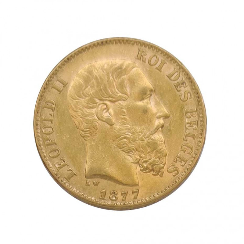 Gold Coin of 20 Francs Belgium Leopold II 6.45 grs Year 1877 | Collectible Coins - Alotcoins