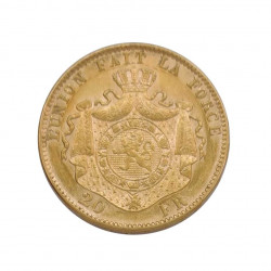 Gold Coin of 20 Francs Belgium Leopold II 6.45 grs Year 1877 | Numismatics Shop - Alotcoins