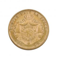 Goldmünze von 20 Franken Belgien Leopold II 6,45 g Jahr 1877 | Numismatik Shop - Alotcoins