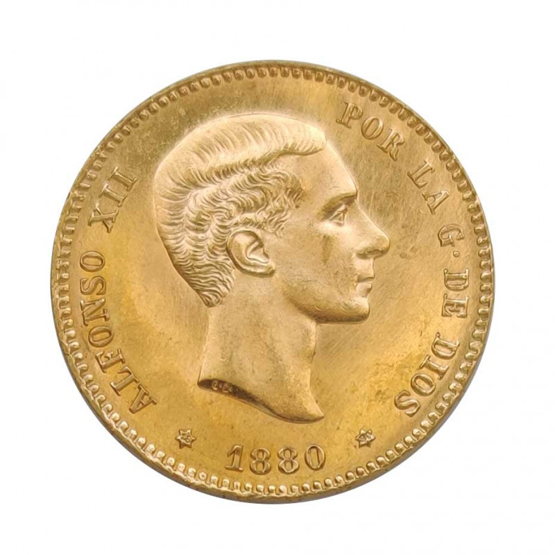 Gold Coin of 25 Pesetas Spain Alfonso XII 8.06 g Year 1880 | Collectible Coins - Alotcoins
