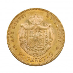Gold Coin of 25 Pesetas Spain Alfonso XII 8.06 g Year 1880 | Numismatics Shop - Alotcoins