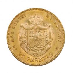 Goldmünze von 25 Peseten Spanien Alfons XII 8,06 g Jahr 1880   Numismatik Shop - Alotcoins
